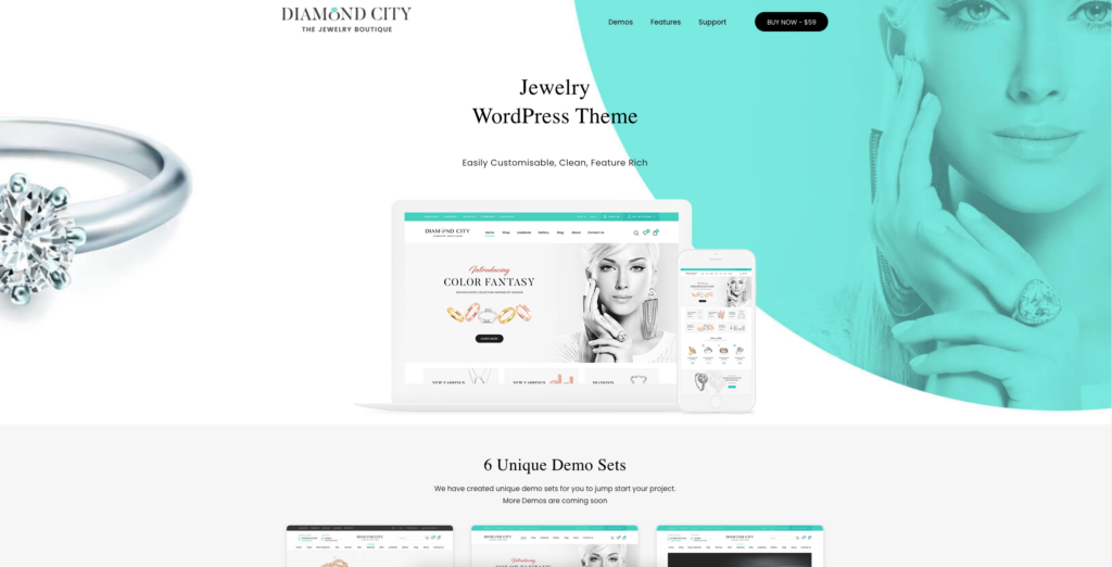 5. DiCi - Jewelry Shop WordPress Theme