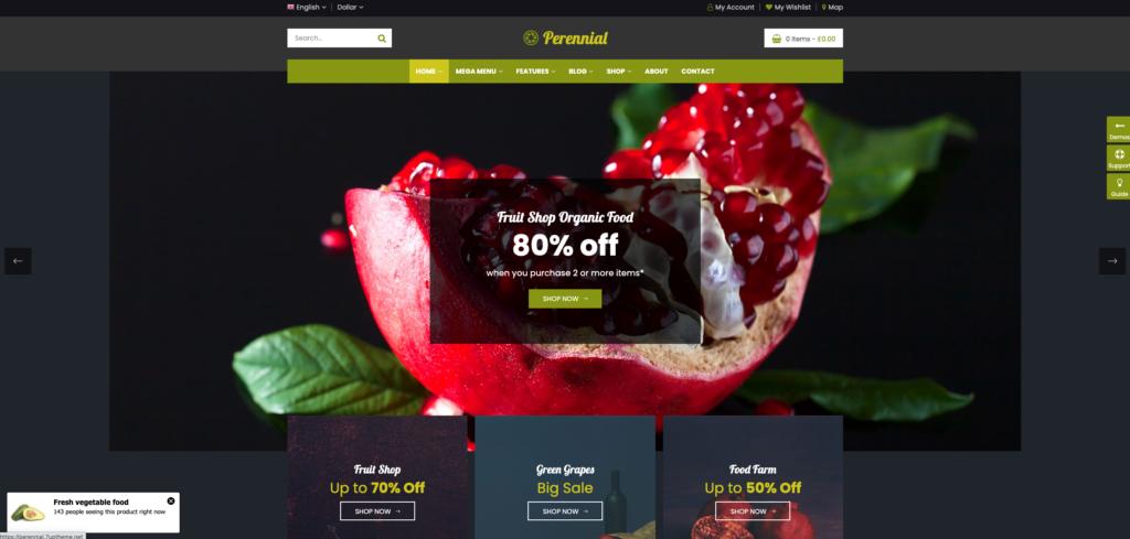 9.  Perennial - Store WooCommerce WordPress for Organic Food Theme
