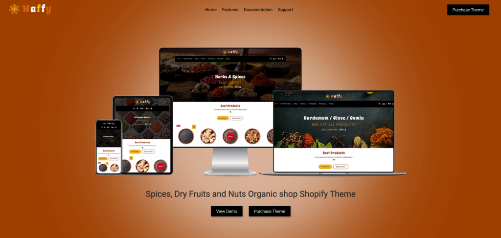 11. Waffy | Spices, Dry Fruits and Nuts Organic shop Shopify Theme