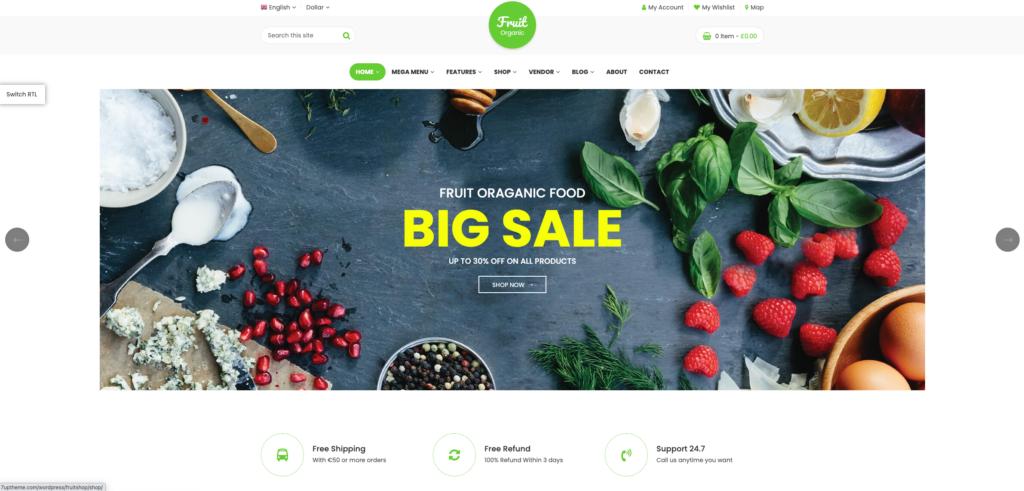 6.  Food Fruit - Organic Farm, Natural RTL Responsive WooCommerce WordPress Theme