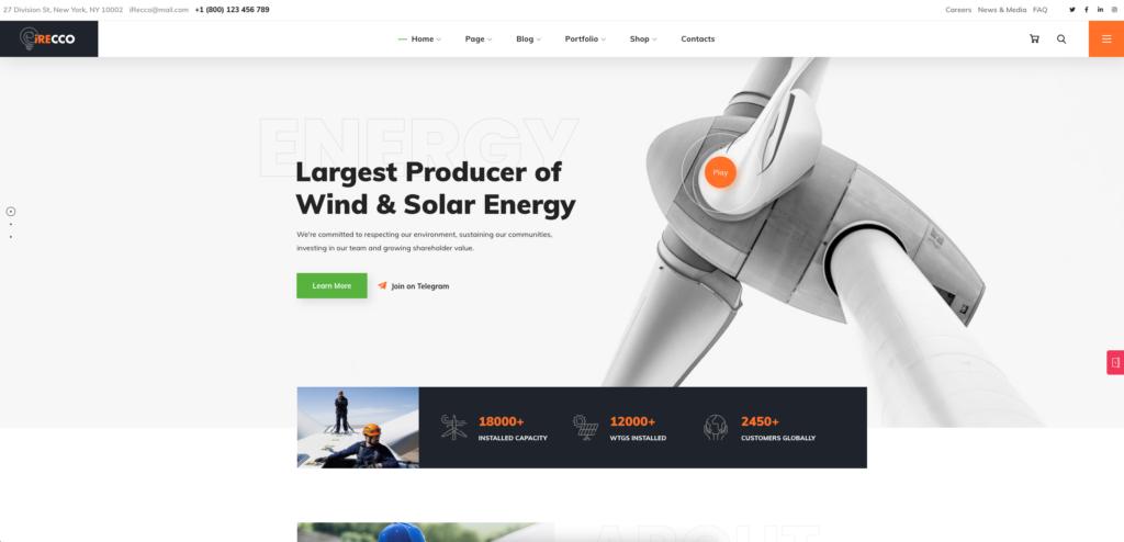 1.  iRecco - Wind & Solar Energy WordPress Theme