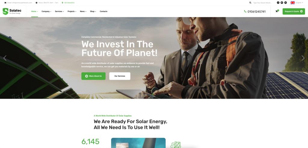 2.  Solatec - Ecology & Solar Energy WordPress Theme