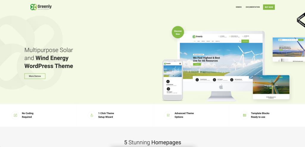 5. Greenly - Ecology & Solar Energy WordPress Theme
