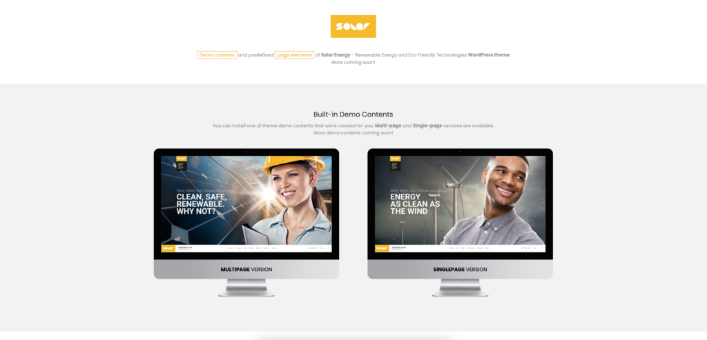 10. Solar - Renewable Energy and Eco Friendly Technologies Single and Multipage WordPress Theme