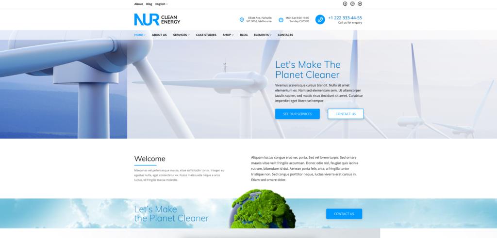 12. Nur - Alternative & Renewable Energy WordPress Theme