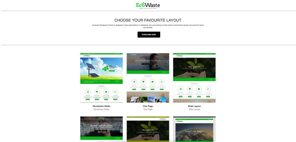 13. EcoWaste - Environmental WordPress Theme