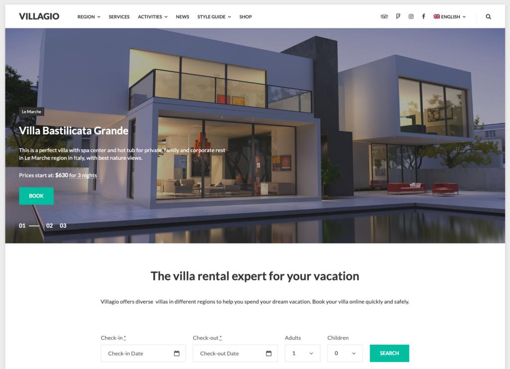 Vilagio - Property Booking WordPress Theme