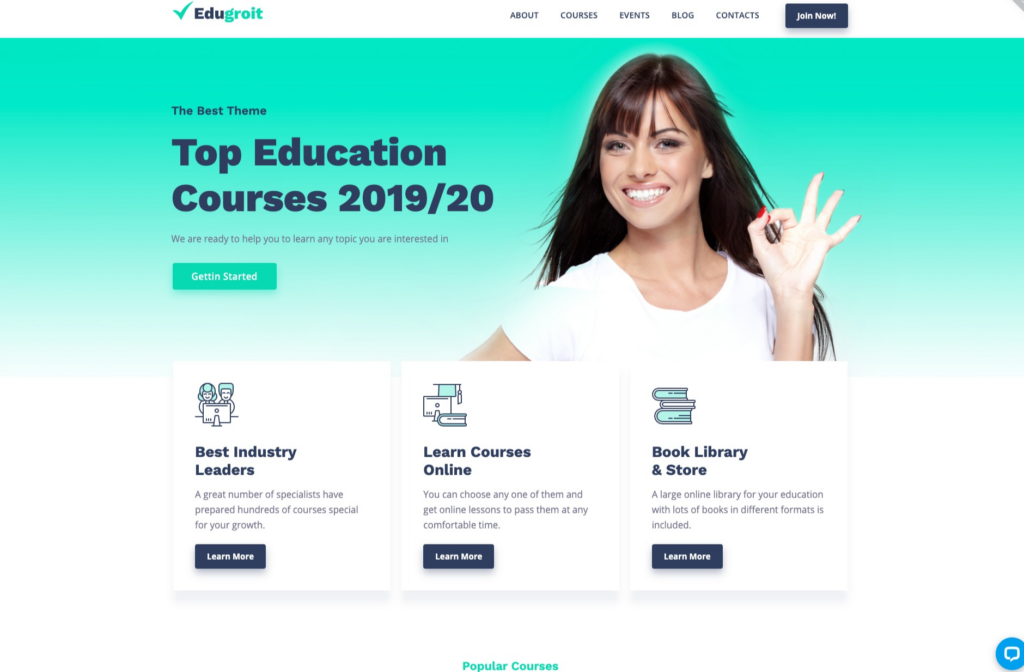 Edugroit - Online Course Website Template WordPress Theme