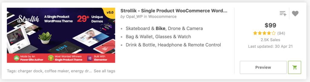 """Bikey"" in Strollik - Single Product WooCommerce WordPress Theme"