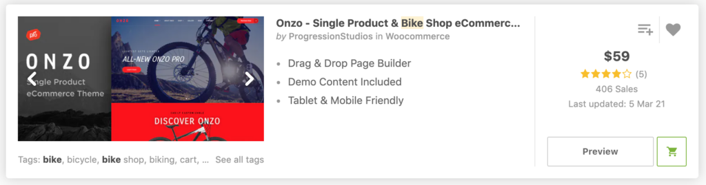 Onzo - Single Product & Bike Shop eCommerce Theme