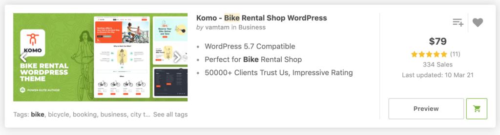 Komo - Bike Rental Shop WordPress