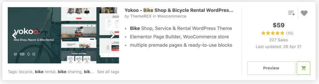 Yokoo - Bike Shop & Bicycle Rental WordPress Theme