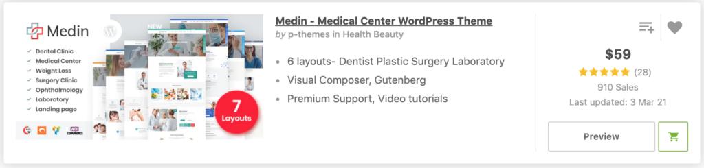 """Dentist Layout"" in Medin - Medical Center WordPress Theme"