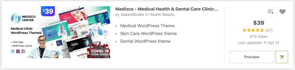 """Dental"" in Medizco - Medical Health & Dental Care Clinic WordPress Theme"
