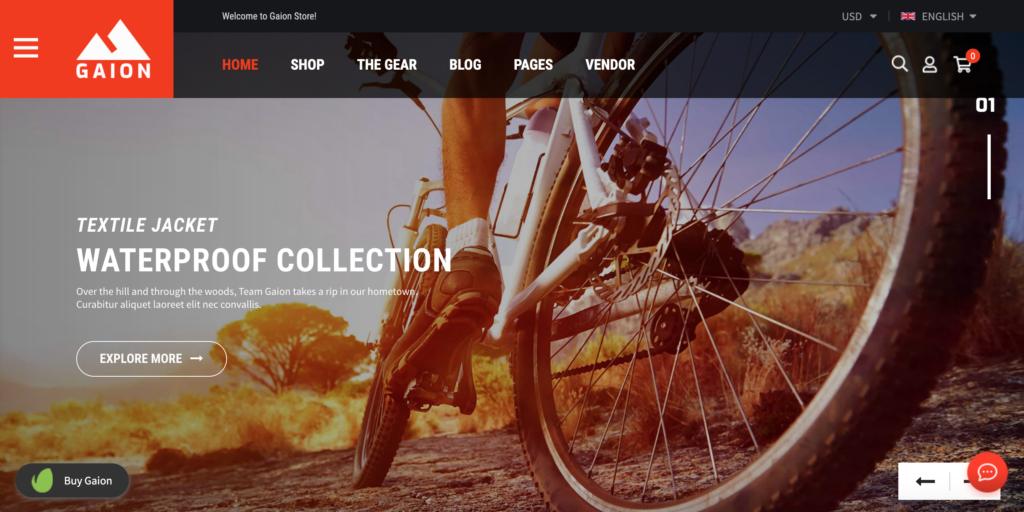 Gaion - Sport Accessories Shop WordPress WooComerce Theme (Mobile Layout Ready)