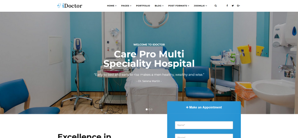 iDoctor - Responsive & Multipurpose Medical Joomla Template With Page Builder