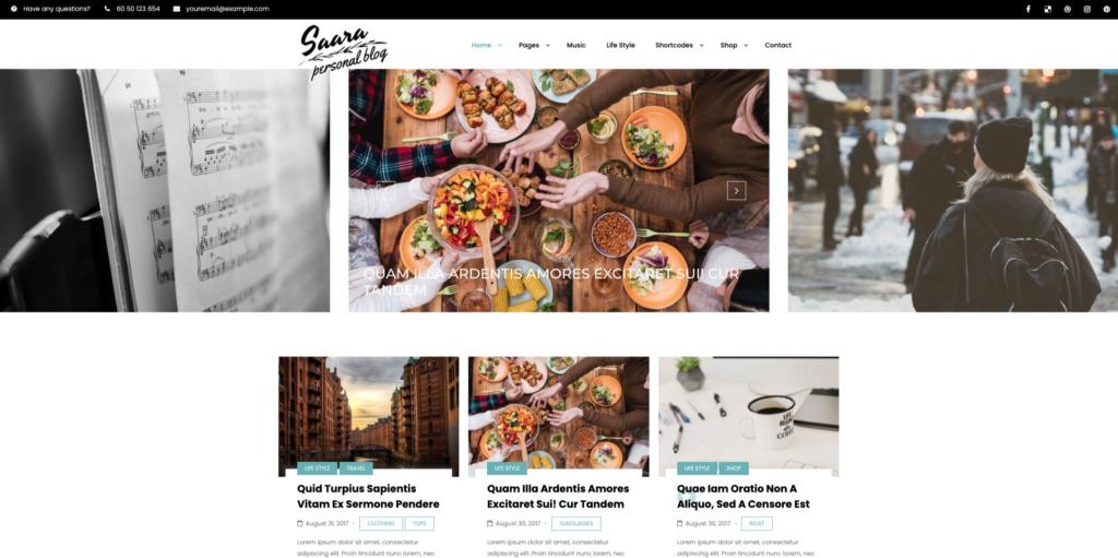 Saara - Minimal Blog WordPress