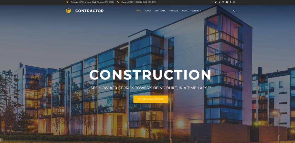 Contractor - Architecture & Construction Company WordPress Elementor Theme