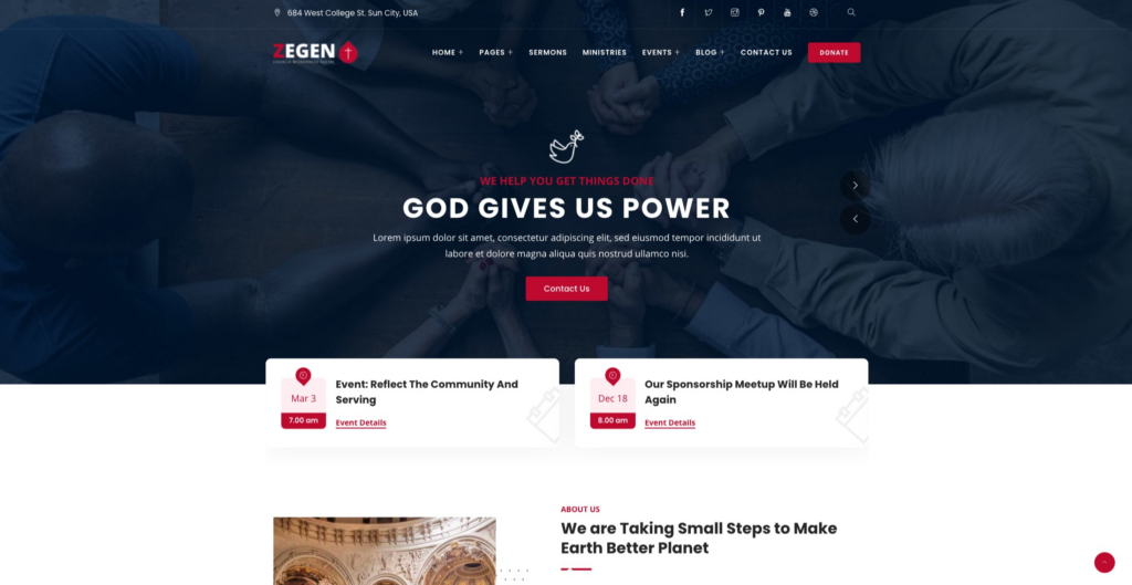 Zagen —Church WordPress Theme