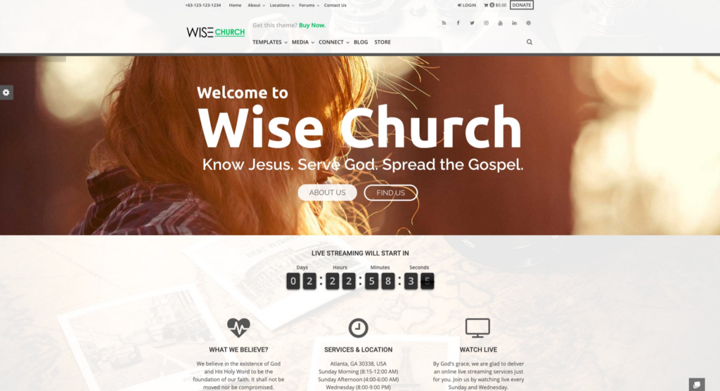 Wise Church | Multipurpose Online Ministry WordPress Theme