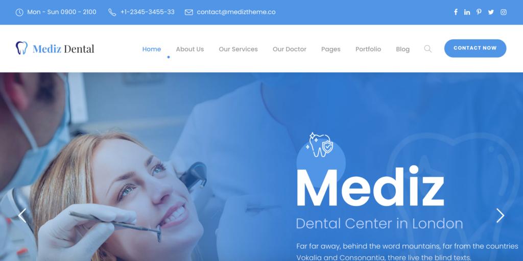 """""""Dentist Demo"""" in Mediz - Medical WordPress"""