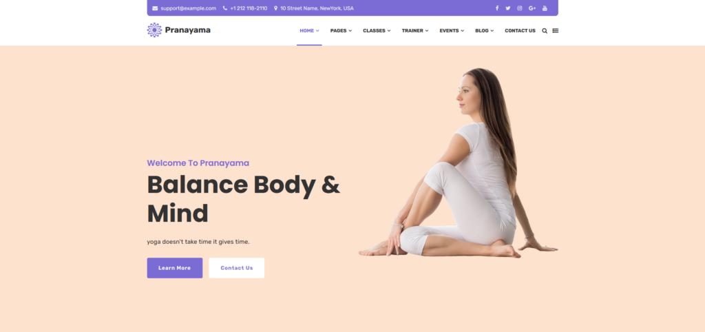 Pranayama - Yoga Studio and Meditation Template