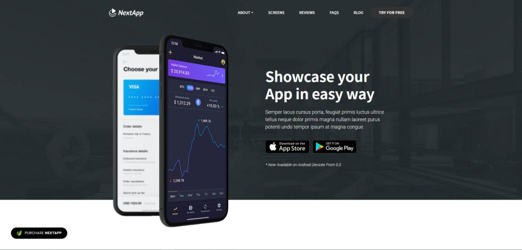 NextApp - App and Software Landing WordPress Theme