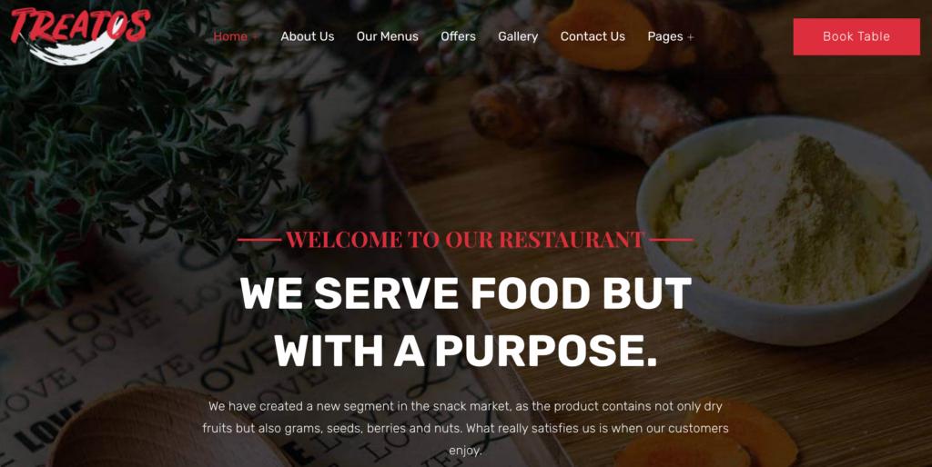Treatos - Restaurant Theme